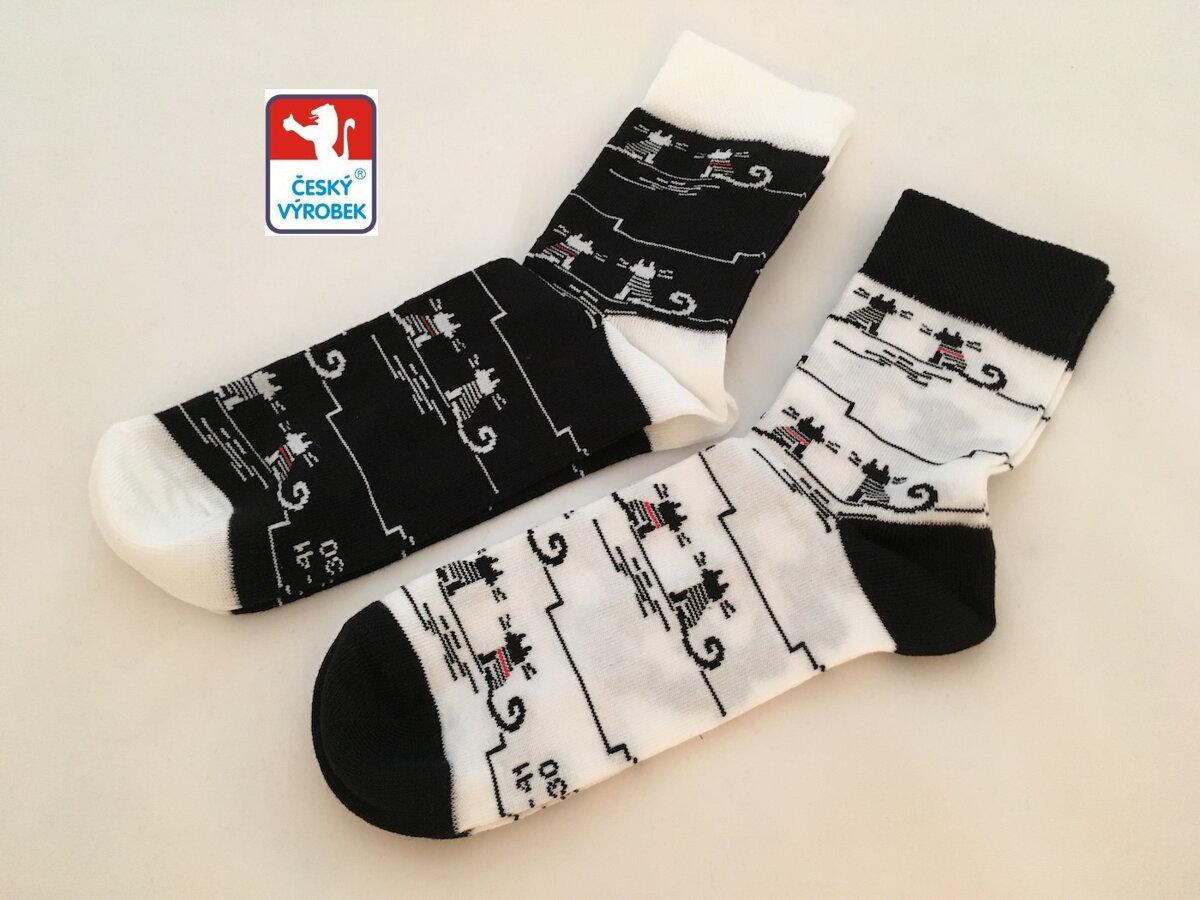 Dámské ponožky - Kočky B W - dva páry a4cc3292c1